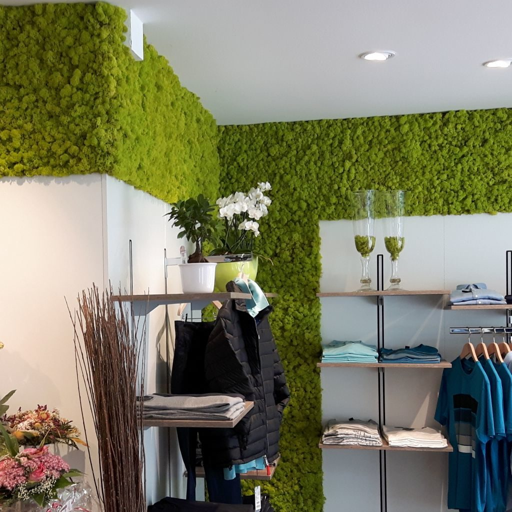 Wall Design with Reindeer Moss Springgreen in a Clothing Shop